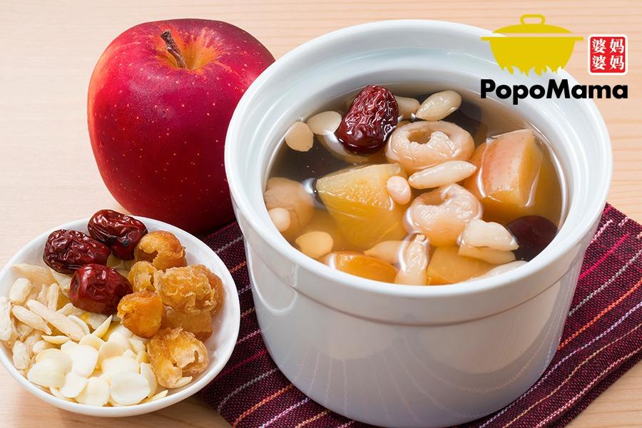 Double Boiled Apple with Almond & Maidong 杏仁麦冬炖苹果