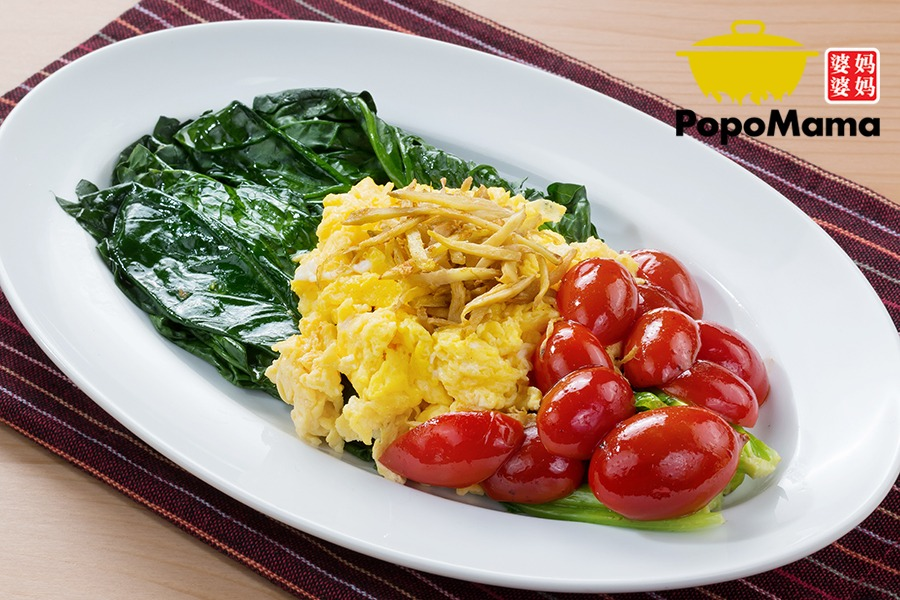 Spinach with Tomato & Egg<br/>番茄鸡蛋炒菠菜